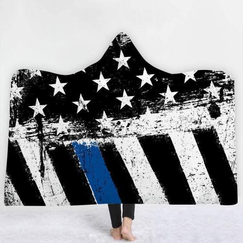 Exclusive: Vintage Patriotic Usa Flag Version 1 Hooded Blanket