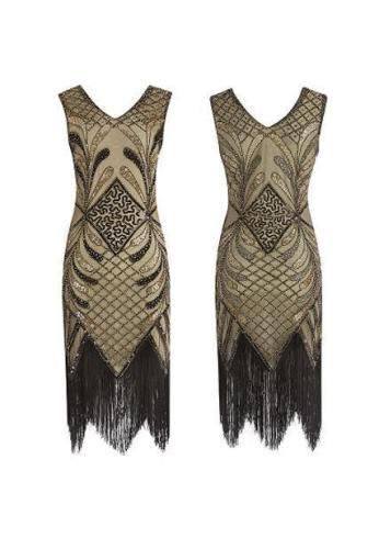 Handmade Beaded Sequined Tassel Evening Dress