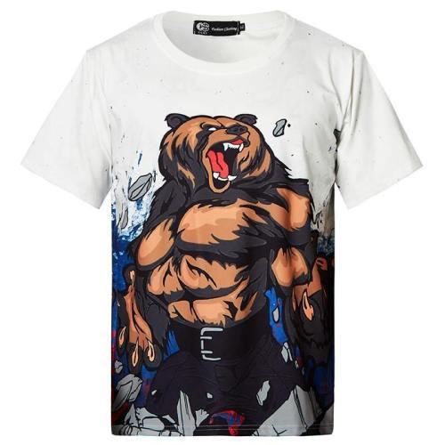 Mens T Shirt Angry Bear Printing Pattern Tee