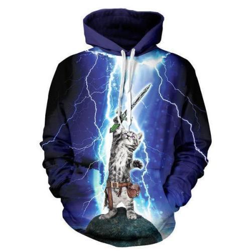 Lightning Cat Hoodie 3D Printed Pullover Sweatshirt