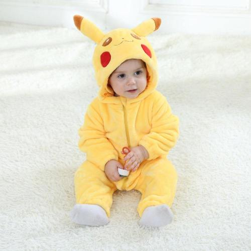Pikachu Costume Cosplay Cartoon Rompers Infant Toddler Baby Jumpsuit