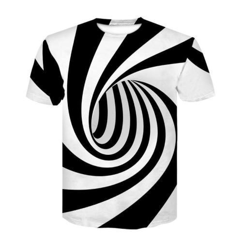 Mens T Shirt 3D Printing Vortex Stripe Printed Pattern Tee