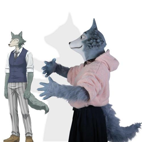 Anime Beastars Legoshi The Wolf Costumes Face Mask Gloves Tail Cosplay Animal Wolf Masks Masquerade Costume Props