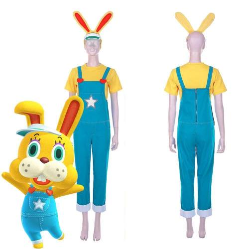 Animal Crossing: New Horizons-Zipper T. Bunny Men T-Shirt Overalls Outfits Halloween Carnival Costume Cosplay Costume