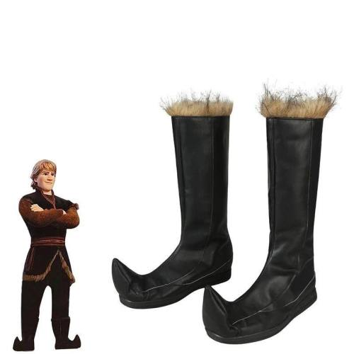 Froze 2 Costume Kristoff Bjorgman Cosplay Snow Queen Anna Elsa  Boots Party Only Shoes Knee High Halloween Leather Unisex Adult