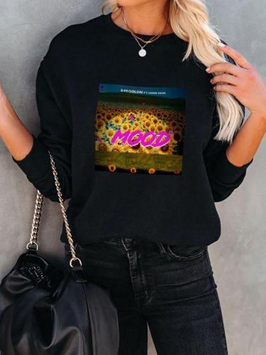 Mood Sunflower Pullover Sweatshirt