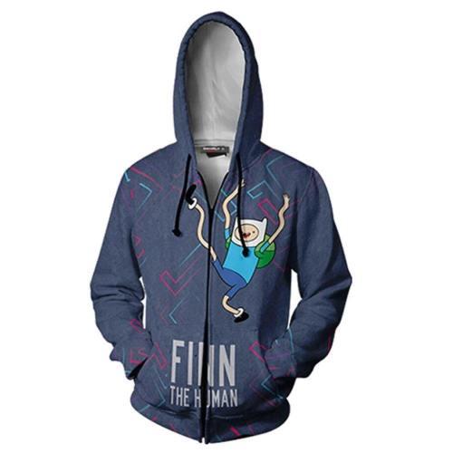 Unisex Finn Hoodies Adventure Time With Finn And Jake Zip Up 3D Print Jacket Sweatshirt