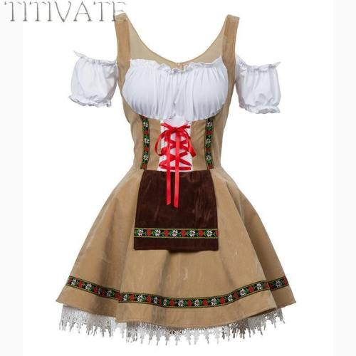 Fashion Oktoberfest Beer Girl Costume Maid Wench Germany Bavarian Short Sleeve Fancy Dress Dirndl For Adult Women