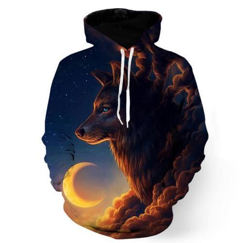 Midnight Moon Wolf Sweatshirt/Hoodie