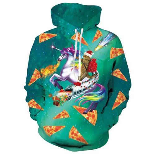 Mens Green Hoodies Cat Riding Horse 3D Graphic Printing Sweatshirt