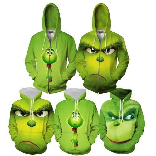 Christmas Grinch Sweater Hoodies Adults Cartoon 3D Print Zip-Up Sweatshirts Men Women Pullovers Grinch Costume Christmas Clothes