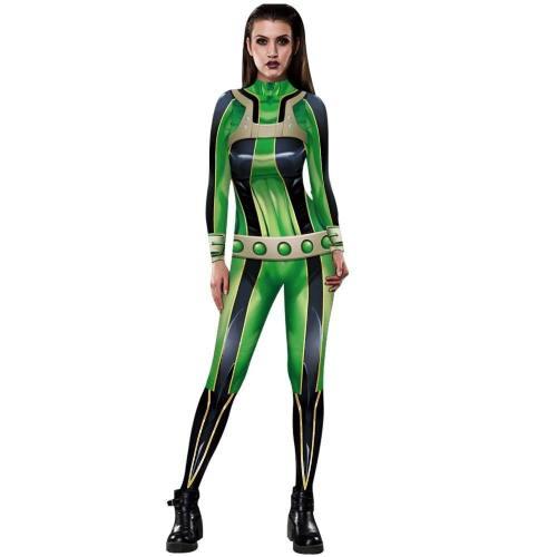 Anime My Hero Academia Asui Tsuyu Cosplay Costumes Jumpsuit Ochaco Uraraka Halloween Fancy Ball Suit Romper For Women Lady Girls