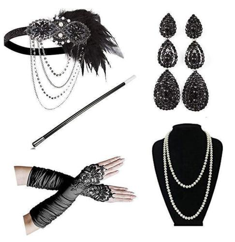 Women'S Vintage Gatsby Feather Headbands Roaring 20S Flapper Costume Accessory Cigarette Holder Pearl Necklace Gloves Set Hair