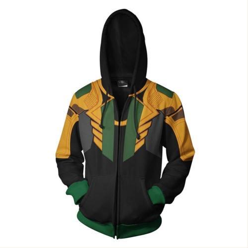 Unisex Loki Hoodies Avengers Endgame Zip Up 3D Print Jacket Sweatshirt