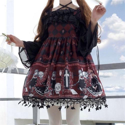 Lolita Costume Gothic Jsk Ruffle Cross Decora Retro Strap Tulle Dress