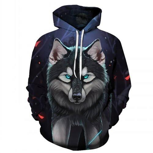 Green Eyed Angry Wolf 3D Hooded Sweatshirts
