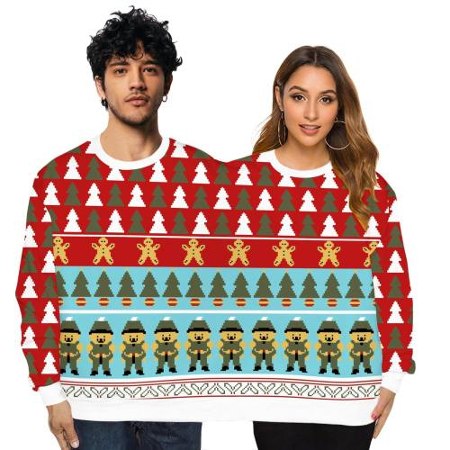 Christmas Couple Wear Lovers Men Women Connected Hoodies