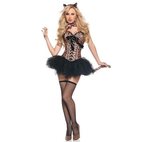Halloween Sexy Animal Fancy Dress Costume Leopard Tiger Catwoman Costume