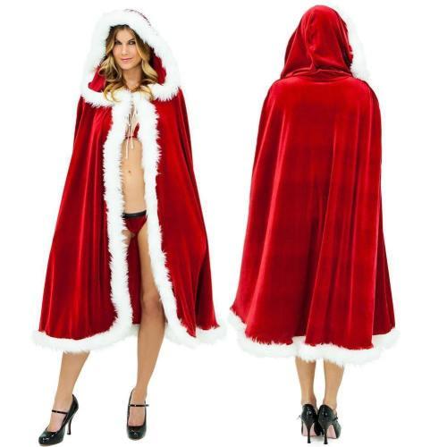 Womens Fur Trim Christmas Santa Claus Cloak Xmas Costume Red Bridal Cape Cloak Ladies Dress  Cape Winter Wedding Hooded Clock