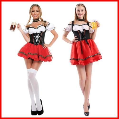 Oktoberfest Women Uniform Maid Outfit Beer Costume Dress