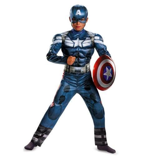 Genuine Boys Superhero Captain America Movie 2 Classic Muscle Halloween Cosplay Costume