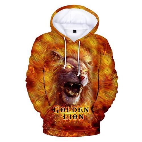 Goldren Lion 3D Print Hoodie Casual Long Sleeve Sweatshirt