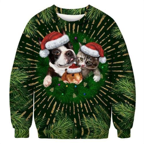 Mens Pullover Sweatshirt 3D Printed Christmas Animal Party Green Long Sleeve Shirts