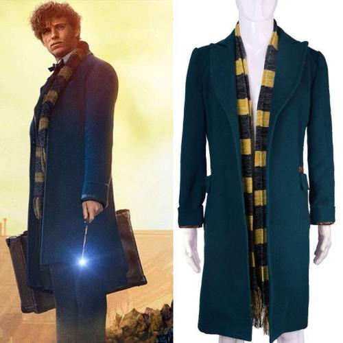 Fantastic Beasts And Where To Find Them Newt Scamander Cosplay Trench Wool Coat & Scarf