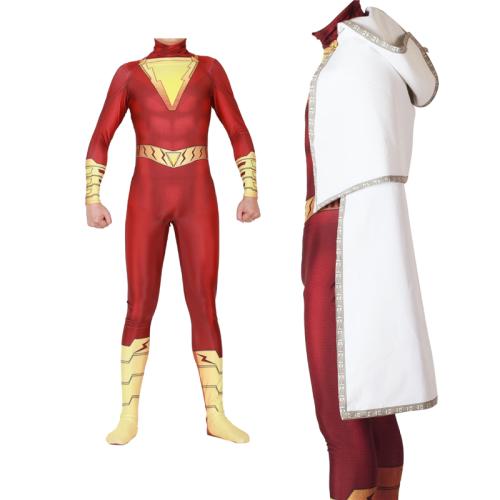 Shazam Billy Batson Halloween Costume Bodysuit Jumpsuits With Cloak