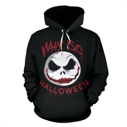 Unisex Nightmare Before Christmas Hoodies Clown Jack Skellington Printed Pullover Jacket Sweatshirt