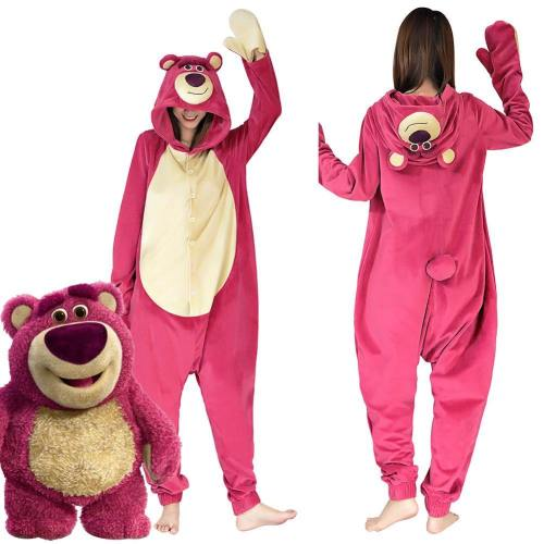 Toy Story 3-Lotso Strawberry Bear Onesies Pajama Men Women Sleepwear Pyjamas Christmas Halloween Costume Cosplay Costume