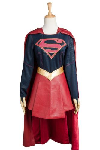 Supergirl Kara Zor-El Danvers Costume + Cape Cosplay Costume Superman Girls Dress