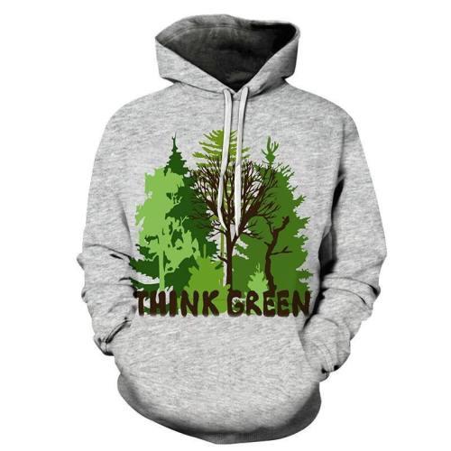 Think Green 3D Sweatshirt Hoodie Pullover