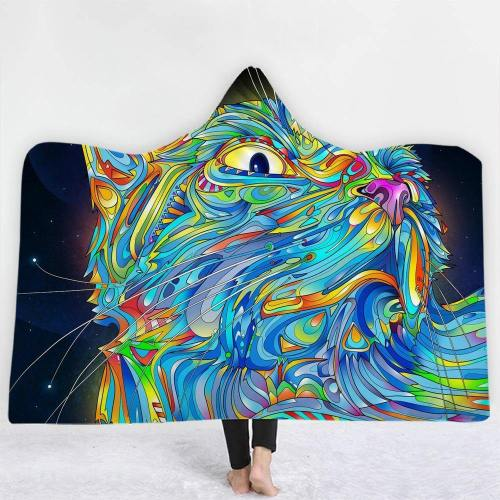 Colorful Lines Cat Hooded Blanket