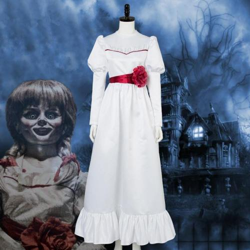 Annabel Cosplay Costume Halloween White Dress For Women And Girls