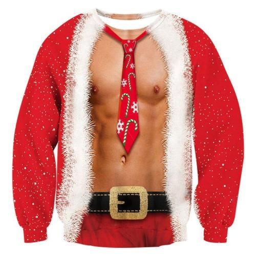 Mens Pullover Sweatshirt 3D Printing Ugly Christmas Pattern