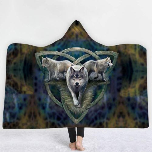 Vikings Wolf Celtic Knot Triad Hooded Blanket