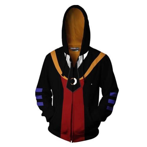 Unisex Korosensei Hoodies Assassination Classroom Zip Up 3D Print Jacket Sweatshirt