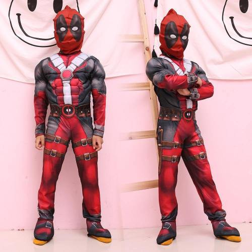 Superhero Cosplay Muscle Deadpool Halloween Costumes For Kids Girls Boys Children With Mask Onesie Red Carnival Avengers Fancy