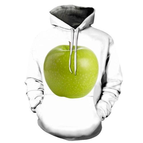 Green Apple White 3D - Sweatshirt, Hoodie, Pullover