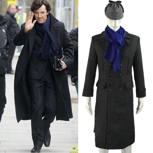 Sherlock Holmes Long Wool Winter Men'S Coat Jacket Cosplay Costumes