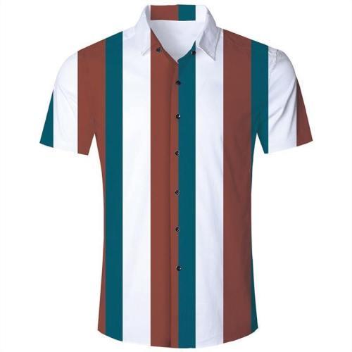 Men'S Hawaiian Short Sleeve Shirts White Red Stripes Print