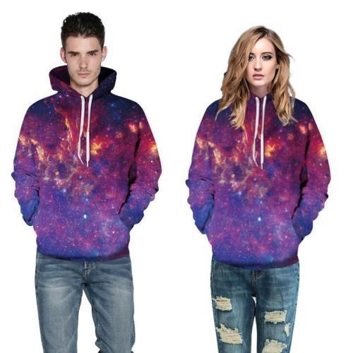 3D Print Hoodie - Purple Galaxy Space Pattern Pullover Hoodie  Css060