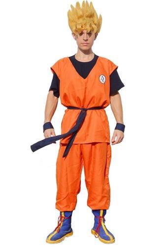 Men'S Saiyan Cosplay Costume Top Pants With Belt