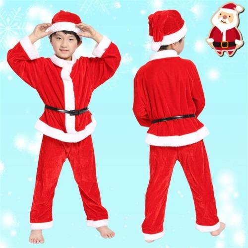 Christmas Santa Claus Boys Girls Costume Cape Dress Hats Party Gifts
