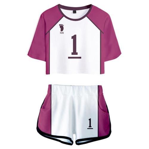 Haikyuu Shiratorizawa School Cosplay Uniform Jersey Sportswear Top Shorts Set For Women