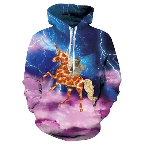 Mens Hoodies 3D Printed Unicorn Pattern Printing Hoodies