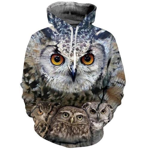 Mens Hoodies 3D Printing Owl Printed Pattern Hooded