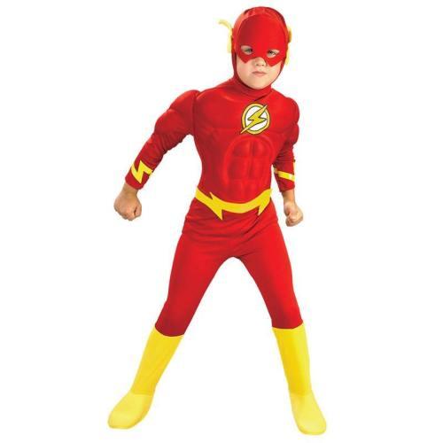 The Flash Jumpsuit Muscle Superhero Kids Boys Comics Movie Halloween Cosplay Costumes
