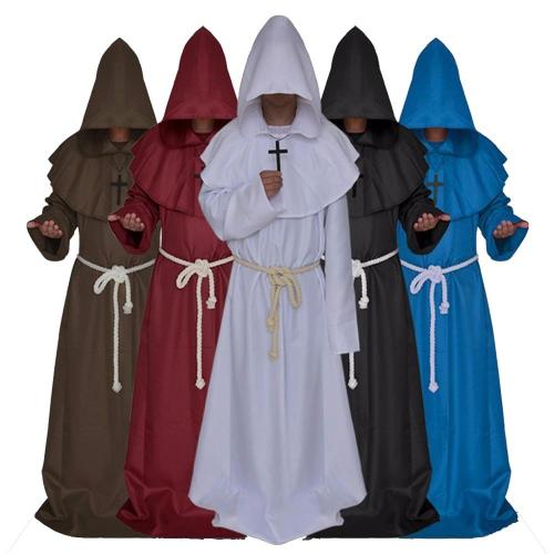 Medieval Witch Hooded Cloak Halloween Party Costume